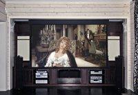 Домашний кинотеатр, опущен экран. миниатюра