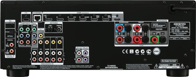 Onkyo TX-NR525 black задняя панель