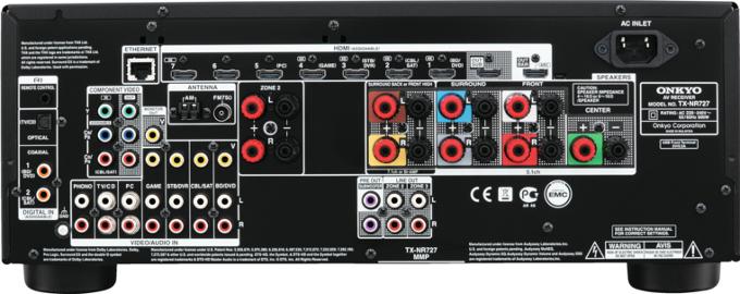 Onkyo Tx-Nr727 black задняя панель